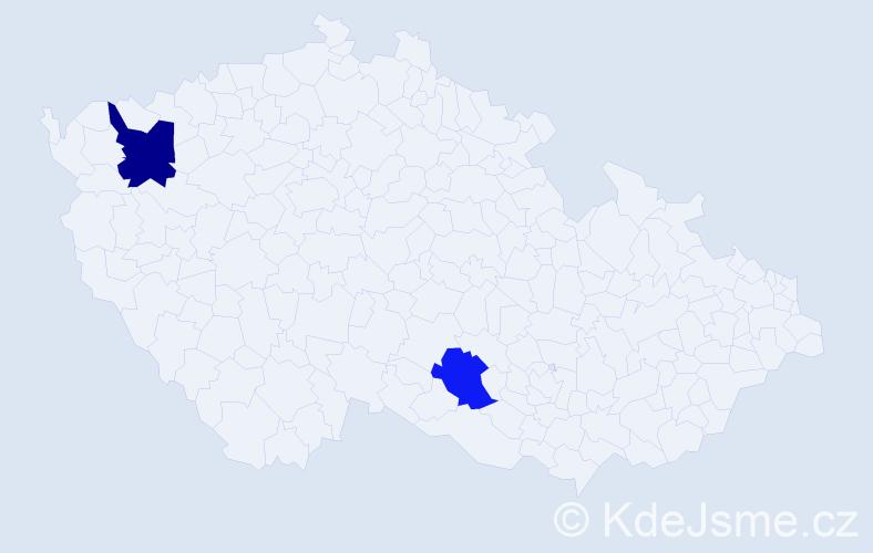 Příjmení: 'Gločeková', počet výskytů 5 v celé ČR
