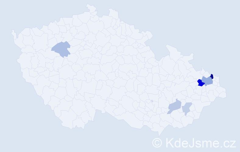Příjmení: 'Bsonek', počet výskytů 15 v celé ČR