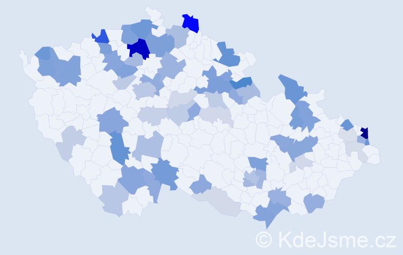 Příjmení: 'Antal', počet výskytů 183 v celé ČR