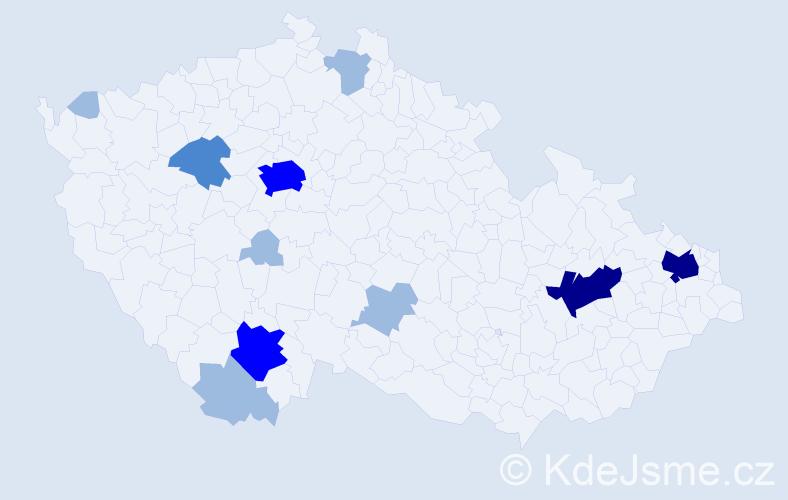 Příjmení: 'Čižíková', počet výskytů 22 v celé ČR