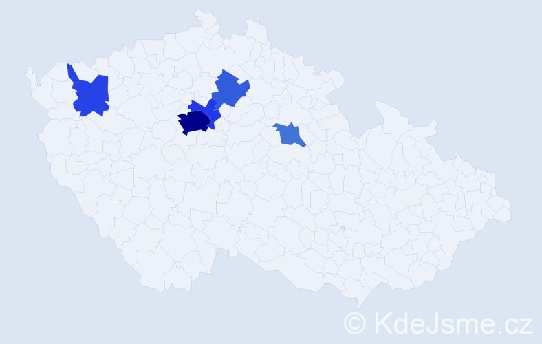 Příjmení: 'Hu', počet výskytů 17 v celé ČR