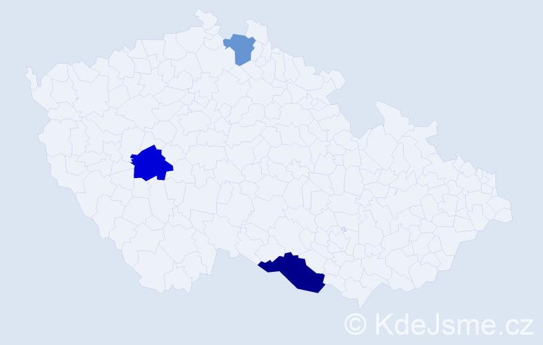 Příjmení: 'Csaplár', počet výskytů 9 v celé ČR