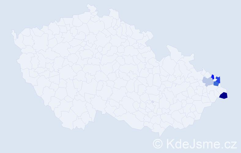 Příjmení: 'Klimesová', počet výskytů 7 v celé ČR