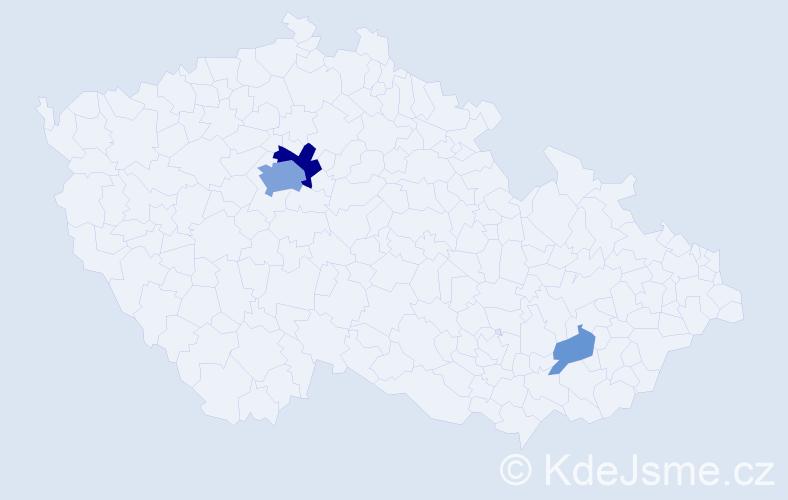 Příjmení: 'Bouzidová', počet výskytů 11 v celé ČR