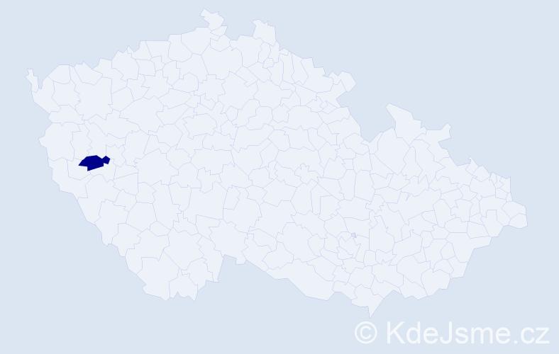 """Příjmení: '""""Čmolíková Chalupná""""', počet výskytů 1 v celé ČR"""