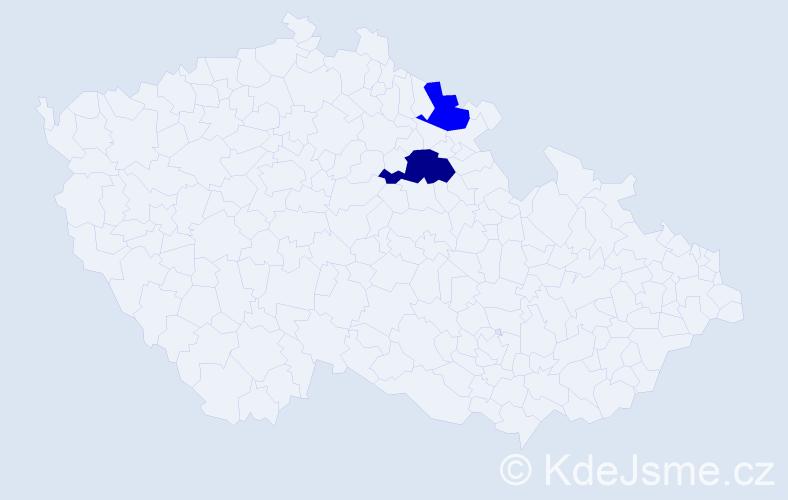 Příjmení: 'Ekrová', počet výskytů 3 v celé ČR