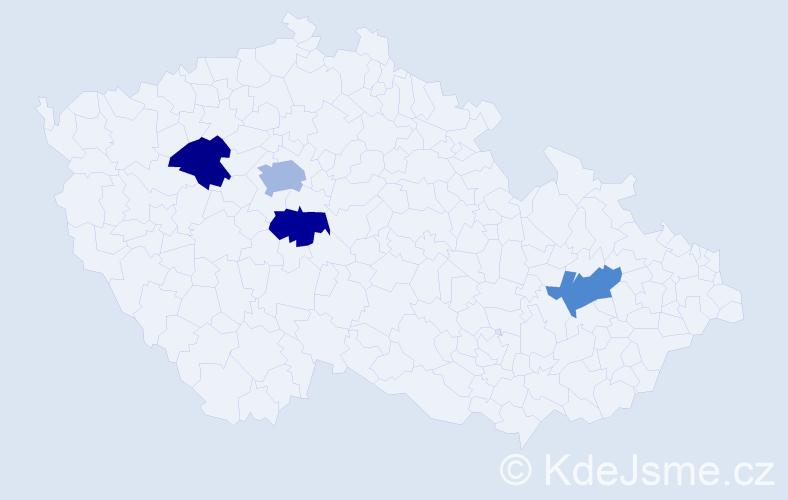 Příjmení: 'Beinl', počet výskytů 5 v celé ČR