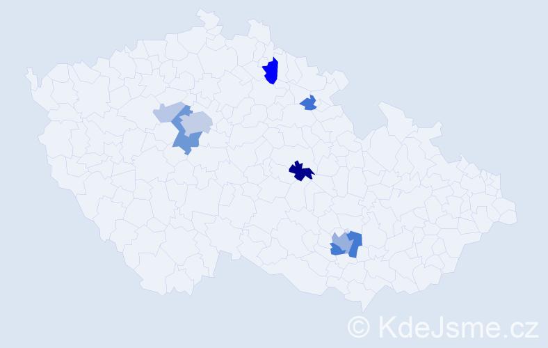 Příjmení: 'Abbas', počet výskytů 22 v celé ČR