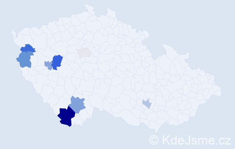 Příjmení: 'Egrmajer', počet výskytů 14 v celé ČR