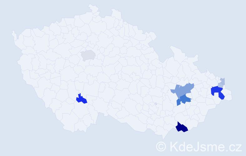 Příjmení: 'Kostrunek', počet výskytů 23 v celé ČR