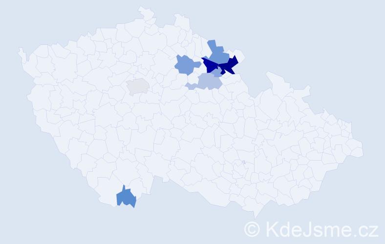 Příjmení: 'Doubic', počet výskytů 38 v celé ČR