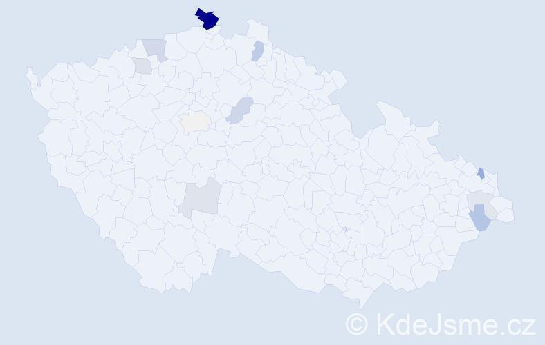 Příjmení: 'Hase', počet výskytů 24 v celé ČR