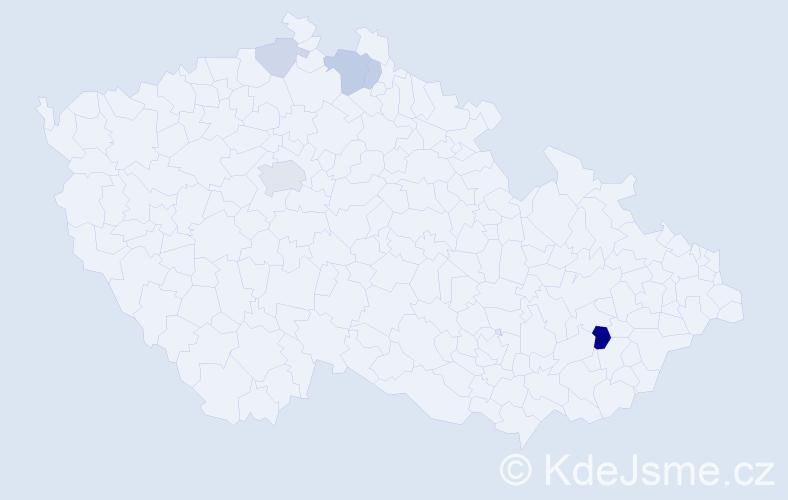 Příjmení: 'Jandal', počet výskytů 12 v celé ČR