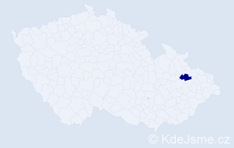 """Příjmení: '""""Kedroutek Freyová""""', počet výskytů 1 v celé ČR"""