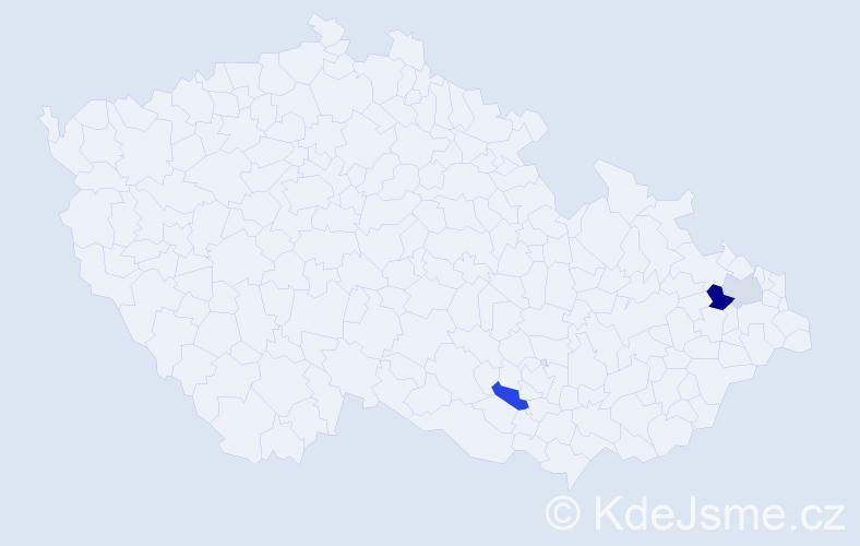 Příjmení: 'Čtvrtňák', počet výskytů 10 v celé ČR