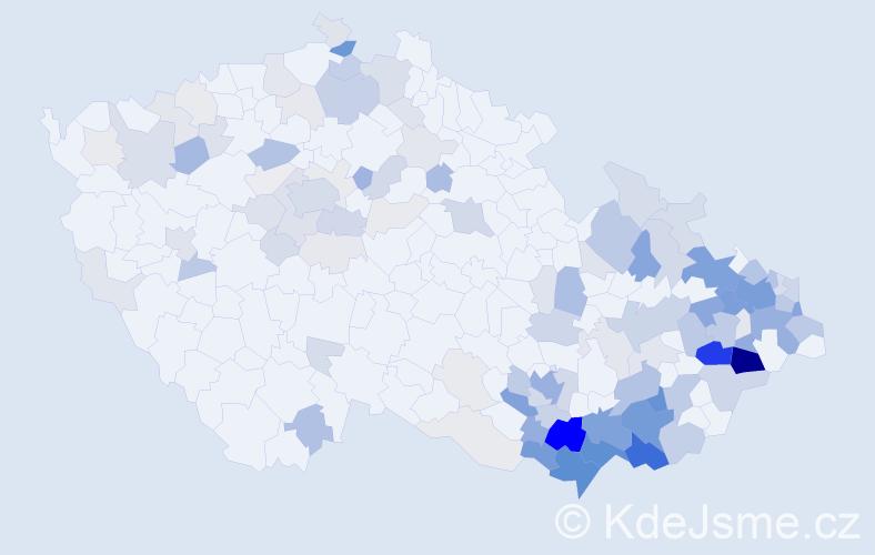 Příjmení: 'Janošková', počet výskytů 520 v celé ČR