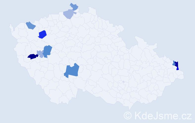 Příjmení: 'Egriová', počet výskytů 23 v celé ČR