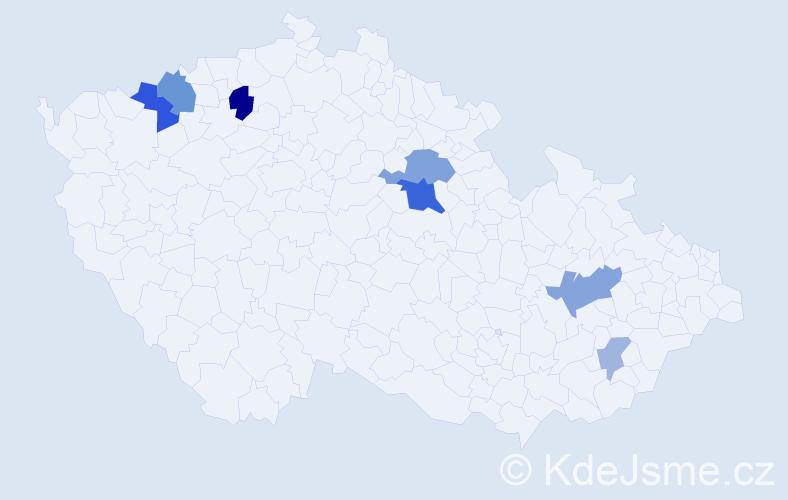 Příjmení: 'Fottrová', počet výskytů 15 v celé ČR