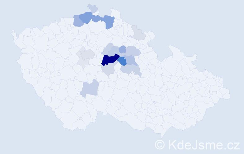 Příjmení: 'Jiroudek', počet výskytů 75 v celé ČR