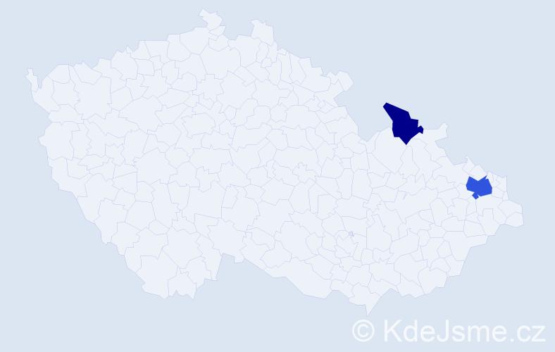Příjmení: 'Čičaková', počet výskytů 4 v celé ČR