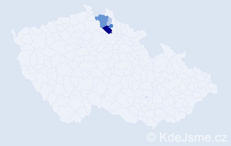 Příjmení: 'Kolombo', počet výskytů 13 v celé ČR