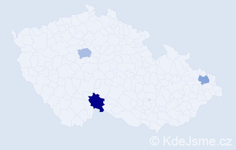 Příjmení: 'Jacek', počet výskytů 4 v celé ČR