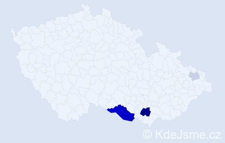 Příjmení: 'Čado', počet výskytů 7 v celé ČR