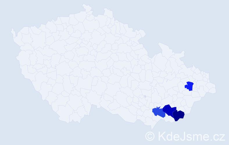 Příjmení: 'Jurnyklová', počet výskytů 11 v celé ČR