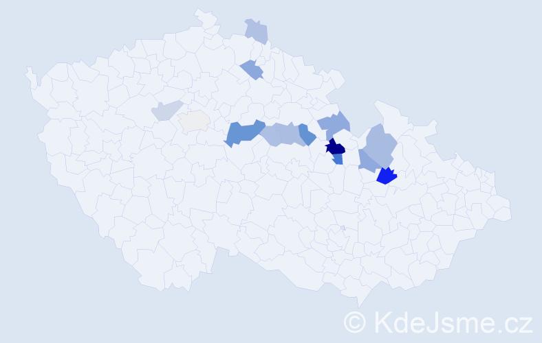 Příjmení: 'Ledrová', počet výskytů 45 v celé ČR