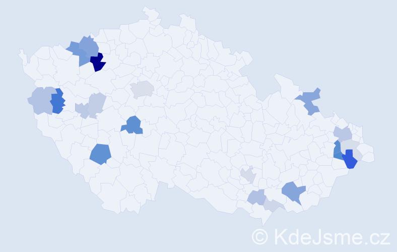 Příjmení: 'Holák', počet výskytů 59 v celé ČR
