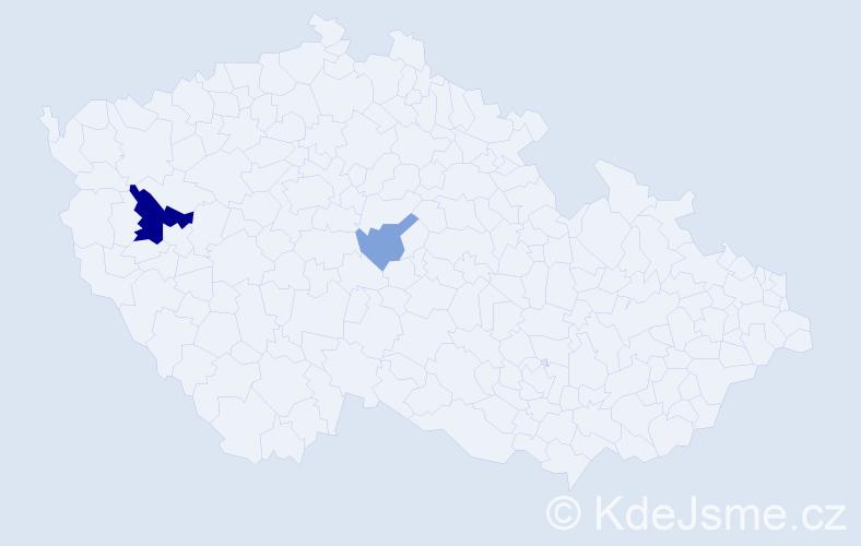 Příjmení: 'Čekeĺský', počet výskytů 5 v celé ČR