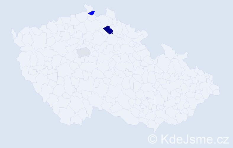 Příjmení: 'Batlička', počet výskytů 9 v celé ČR