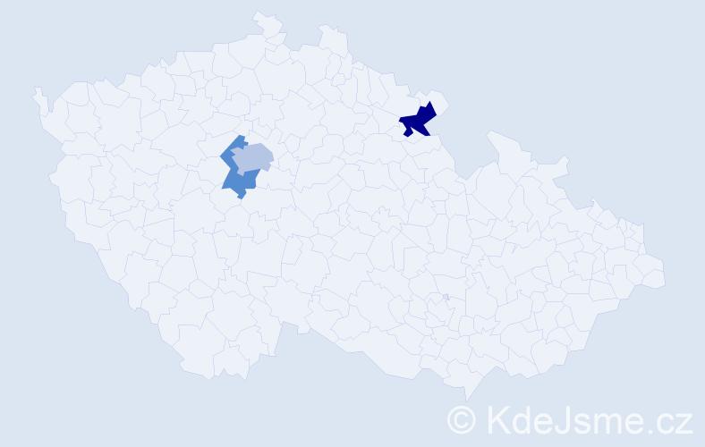 Příjmení: 'Kaulichová', počet výskytů 9 v celé ČR