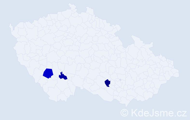 Příjmení: 'Hunová', počet výskytů 5 v celé ČR