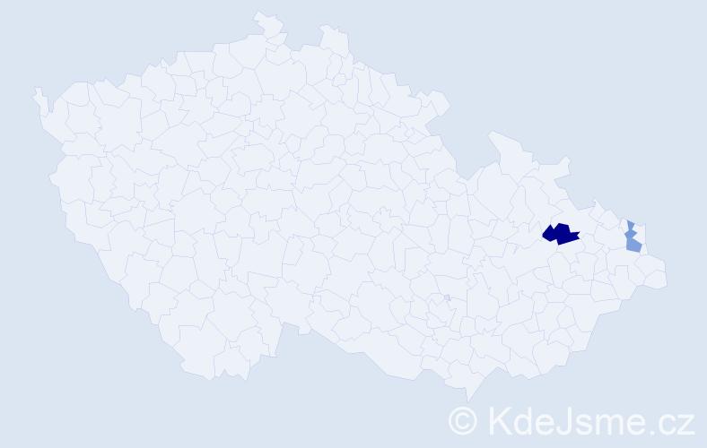 Příjmení: 'Čujdíková', počet výskytů 7 v celé ČR