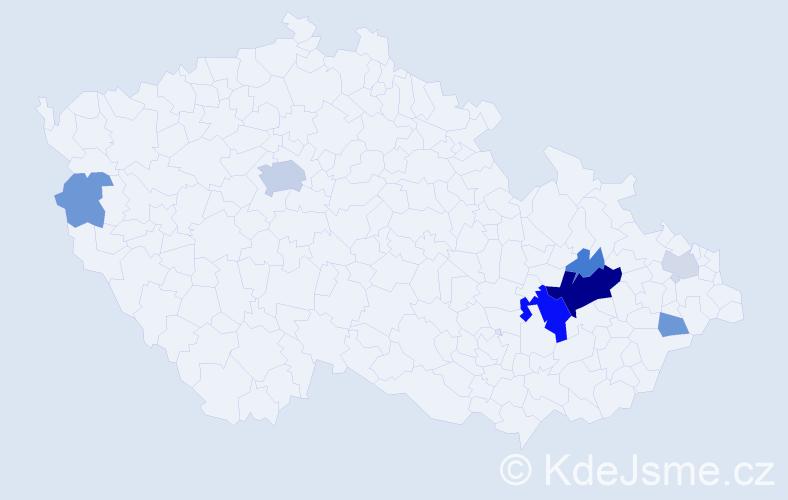 Příjmení: 'Knaus', počet výskytů 23 v celé ČR