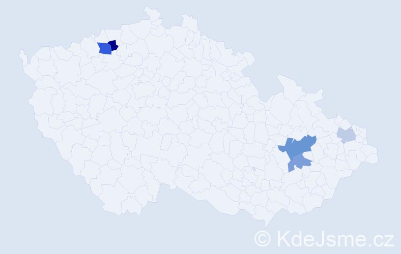Příjmení: 'Dulin', počet výskytů 7 v celé ČR
