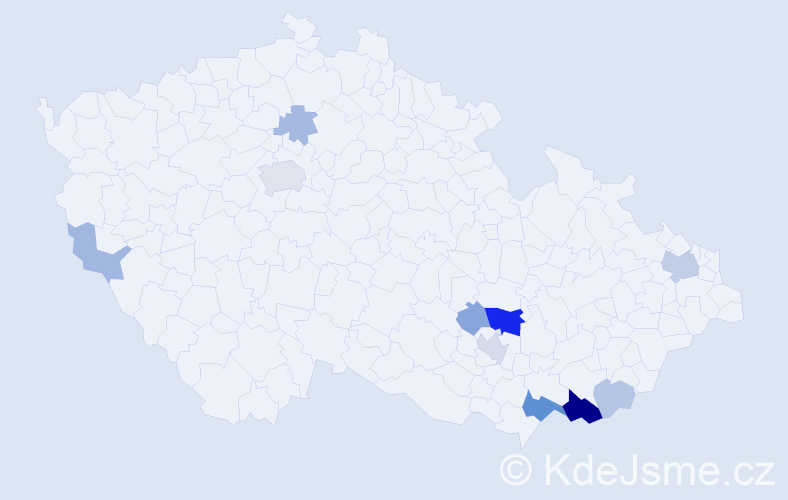 Příjmení: 'Junec', počet výskytů 29 v celé ČR