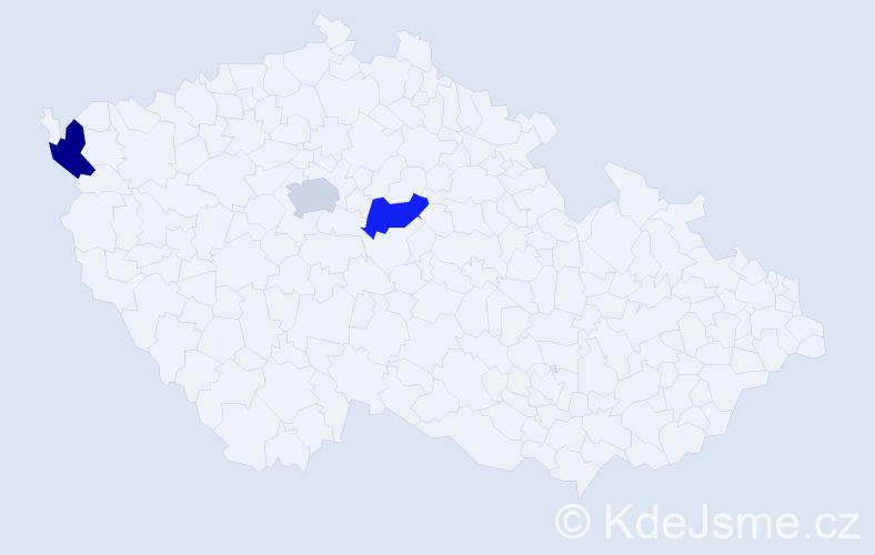 Příjmení: 'Ďanovská', počet výskytů 3 v celé ČR