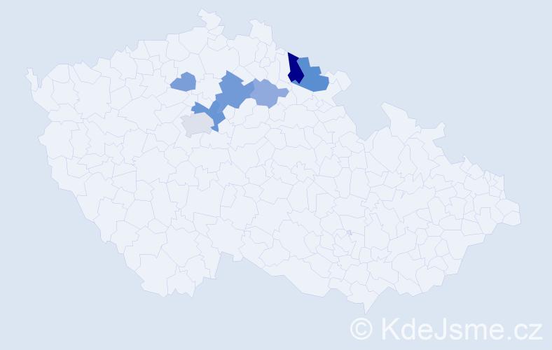 Příjmení: 'Jurkeníková', počet výskytů 17 v celé ČR