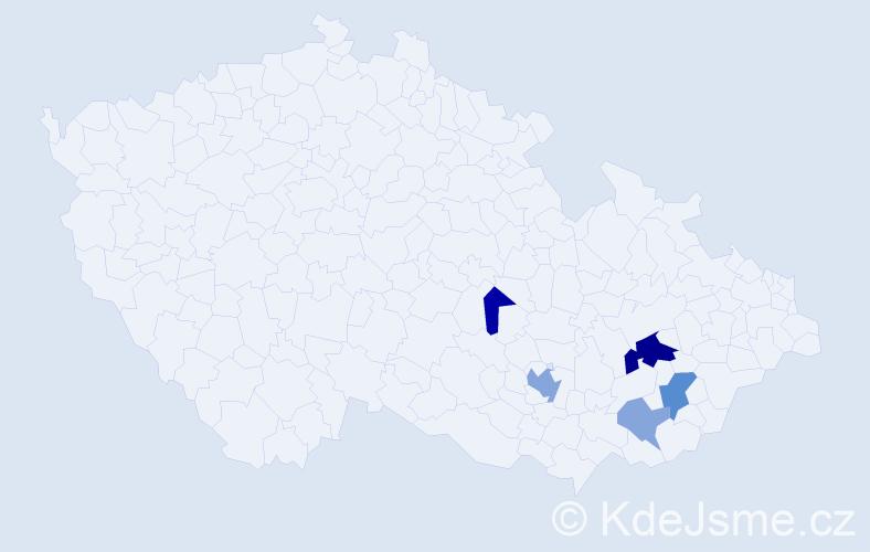 Příjmení: 'Evanžin', počet výskytů 11 v celé ČR
