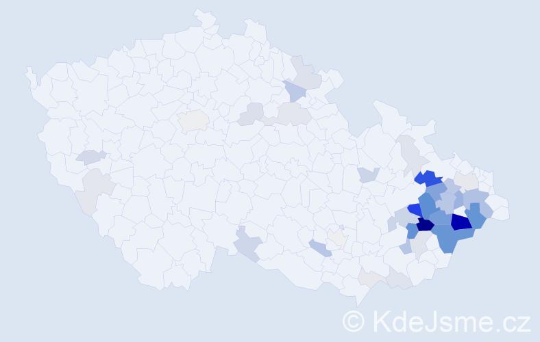 Příjmení: 'Heryán', počet výskytů 150 v celé ČR