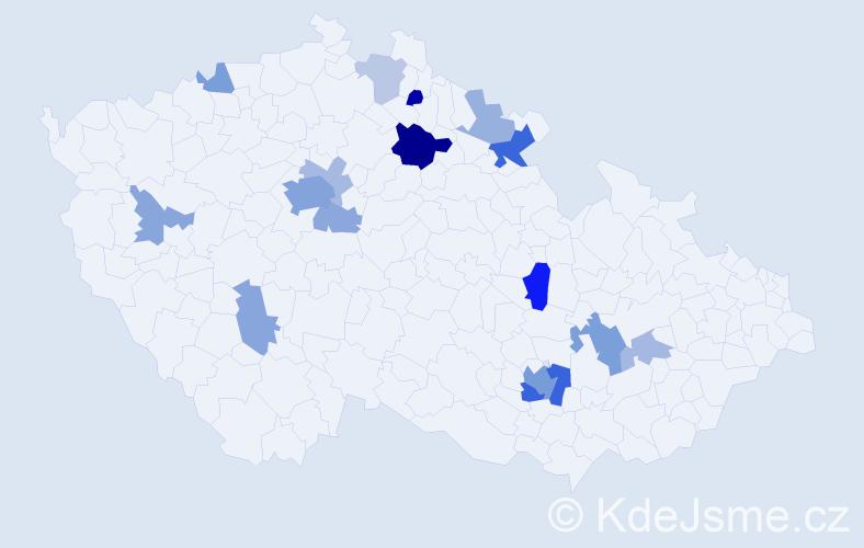 Příjmení: 'Hell', počet výskytů 43 v celé ČR