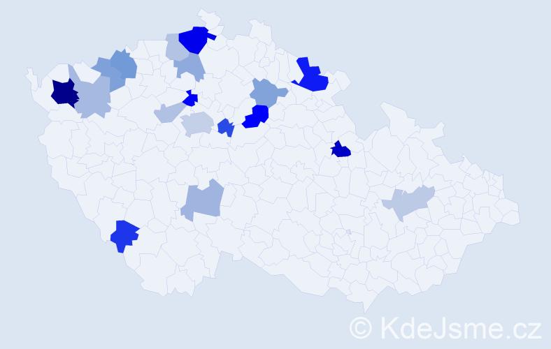 Příjmení: 'Jiterská', počet výskytů 38 v celé ČR
