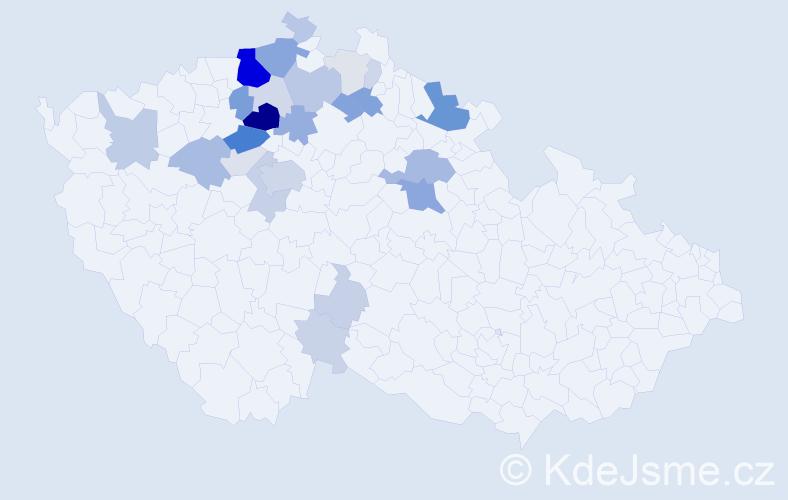 Příjmení: 'Kajzrová', počet výskytů 86 v celé ČR