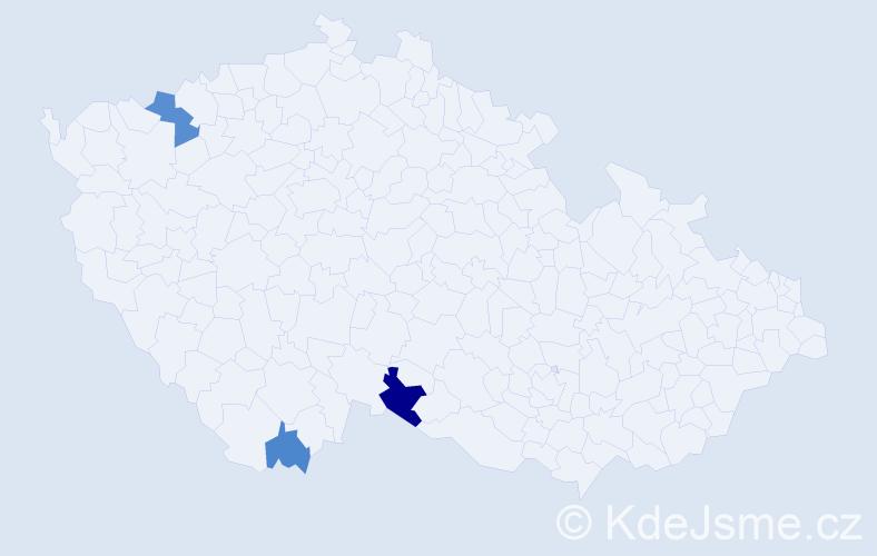 Příjmení: 'Grieš', počet výskytů 5 v celé ČR