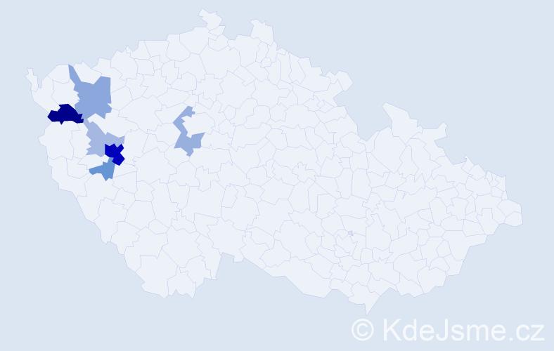 Příjmení: 'Knaizlová', počet výskytů 23 v celé ČR