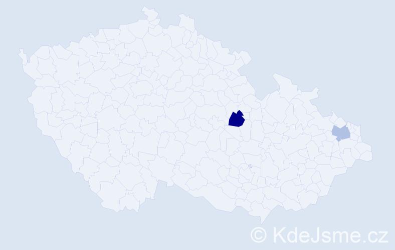 Příjmení: 'Čresnar', počet výskytů 2 v celé ČR
