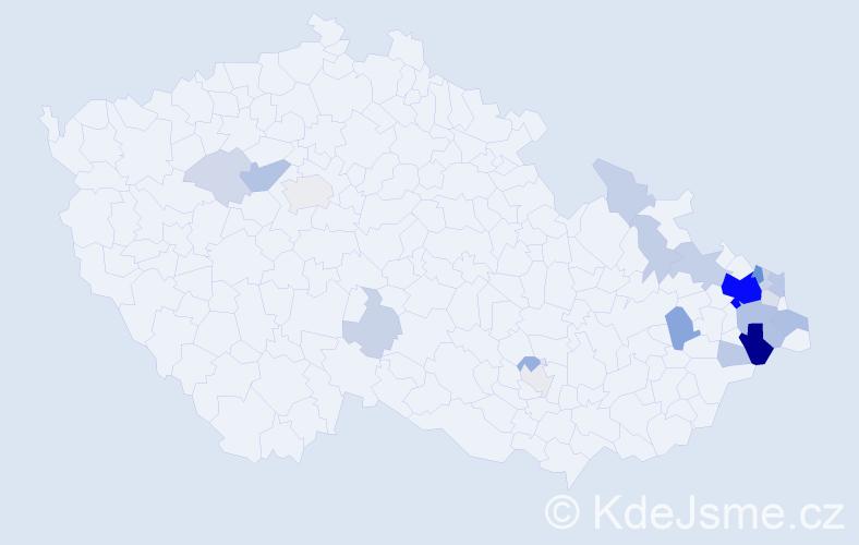 Příjmení: 'Kosňovský', počet výskytů 75 v celé ČR