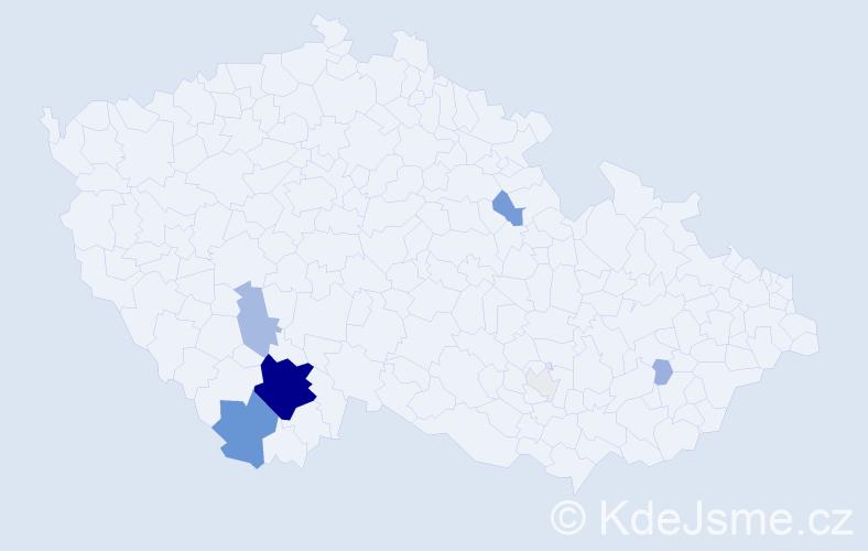 Příjmení: 'Hlach', počet výskytů 38 v celé ČR